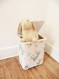 Vintage Children's Hamper 50s Decor White by heartkeyologie, $28.00