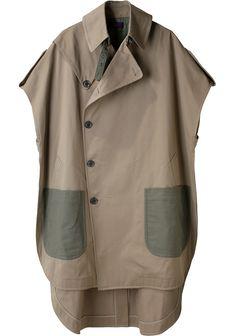 Y's by Yohji Yamamoto no sleeve coat Japan Fashion, Look Fashion, Fashion Details, Womens Fashion, Fashion Design, Chaleco Casual, Future Fashion, Yohji Yamamoto, Casual Tops