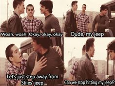 Jackson and Scott fighting and Stiles Jeep getting in the middle of it. #TeenWolf