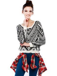 Geo Print Sweater Top | Shop Sweaters at Papaya