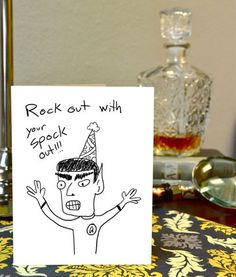 Star Trek Spock Greeting Card Hand Drawn by TheStrikingViking