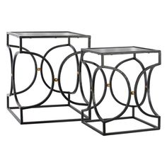 Urban Trends Mirror Top Nesting Tables with Hourglass Body - Set of 2 - 12428