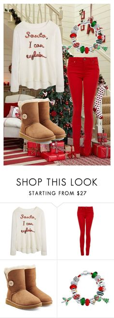 """""""Then the Grinch thought of something he hadn't before! What if Christmas, he thought, doesn't come from a store. What if Christmas, perhaps, means a little bit more!"""" by grace199617 ❤ liked on Polyvore featuring Paige Denim, UGG Australia and Bling Jewelry"""