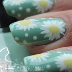 Daisies and polka dots! What could be better?!? Would also look really cute on sky blue, baby blue, or turquoise.