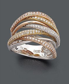 Trio by Effy Collection Diamond Ring, 14k Gold, White Gold and Rose Gold Diamond Overlap (3/4 ct. t.w.)