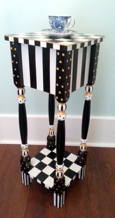 Exceptionnel Whimsical Black And White Checkered Side Table By Shabbysleek. Now  Available On Etsy For Only