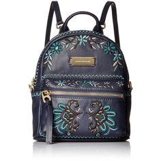Juicy Couture Black Label Embroidered Paisley Mini Backpack ($229) ❤ liked on Polyvore featuring bags, backpacks, backpack bags, rucksack bags, blue bag, mini bags and day pack backpack