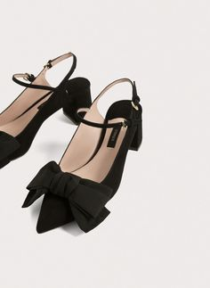 Suede slingbacks with bow
