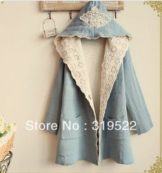 Knitted cardigan gothic lace appliques long hooded jacket outewear vintage free shipping(China (Mainland))