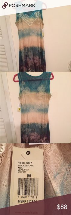 Dress Full length tank top dress with teal cream and purple colors with paisley print on bottom. Reba Dresses Maxi