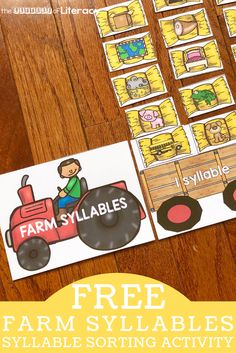 FREE Printable Farm Syllable Sort Activity for Kindergarten! Start sorting syllables with your students in a whole new way with this FREE Printable Farm Syllable Sort Activity! Syllables Kindergarten, Kindergarten Themes, Kindergarten Lesson Plans, Center Ideas For Kindergarten, Kindergarten Reading, Farm Activities, Sorting Activities, Preschool Farm, Autism Activities