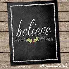 Believe Chalkboard Christmas Printable Art