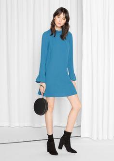 & Other Stories image 2 of Frilled Flare Cuff Dress  in Blue