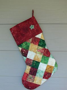 Four Patch Quilted Christmas Stocking by quiltedoccasions on Etsy, $26.00