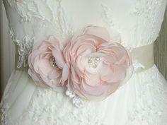 Blush wedding sash Wedding sash Ivory by WhiteBridalBoutique