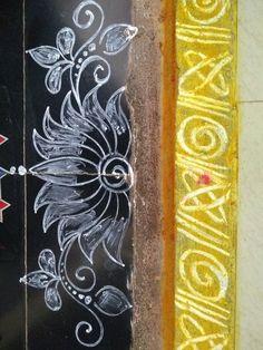 Rangoli Side Designs, Rangoli Borders, Free Hand Rangoli Design, Small Rangoli Design, Colorful Rangoli Designs, Rangoli Designs Diwali, Rangoli Designs Images, Beautiful Rangoli Designs, Lotus Rangoli