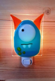 Fused glass Nightlight monster, I think W would love this. MI requested green like ''mike wazzouski''
