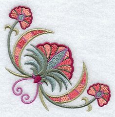 """Suzani Spring Flower CornerProduct ID:F2076 Size:3.89""""(w) x 3.88""""(h) (98.8 x 98.6 mm)Color Changes:11 Stitches:16410Colors Used:8"""