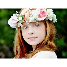 Idea Bridal hair wreath Statement Flower crown girl Halo pink peach... ($78) ❤ liked on Polyvore featuring accessories, hair accessories, floral crown, bridal floral crown, flower garland, floral garland and pink garland