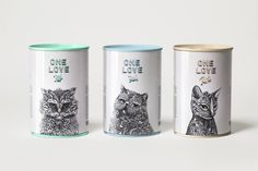 Cat food packaging with pretty illustrations