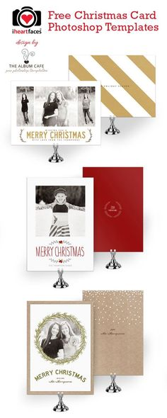 Free Christmas Card Photoshop Templates. Exclusive designs by The Album Cafe for iHeartFaces.com
