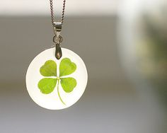 Four leaf clover pendant - lucky handmade jewelry - free shipping