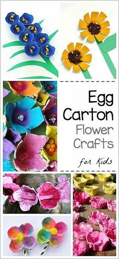 Egg Carton Flower Crafts for Kids: sunflowers, bluebells and more! - Perfect for spring or Mother's Day! Flower Crafts Kids, Spring Crafts For Kids, Easter Crafts, Art For Kids, Spring Activities, Craft Activities, Recycling Activities For Kids, Mothers Day 2018, Cardboard Tubes