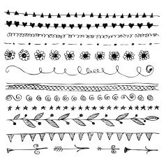 Hand-drawn line border set ... five choices, scroll down page