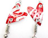 Coca Cola Recycled Soda Can Earrings  - Tin Can Jewelry Art. $15.00, via Etsy.