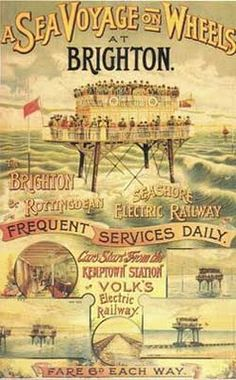 Vintage Illustratie-Affiche-Reclame ~A Sea Voyage on Wheels at Brighton~