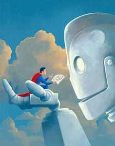 Storytime  Iron Giant and Superman Painting by VincentCarrozza