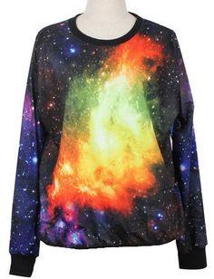 Purple Long Sleeve Fire Galaxy Print Loose Sweatshirt US$31.97