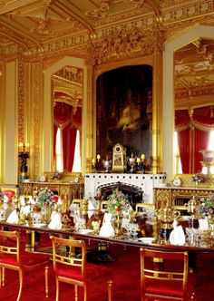 The State Dining Room in the Semi-State Rooms, Windsor Castle My personal collection of historical ephemera includes an original and . Palais De Buckingham, Le Palais, Palace Interior, State Room, The Royal Collection, Royal Residence, Window Drapes, Drapes Curtains, Windsor Castle