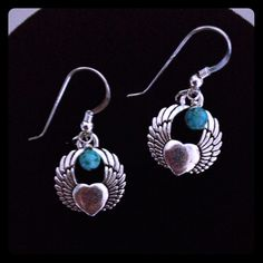 """Winged Heart Earring! So Pretty!  Antique Pewter Winged Heart Charms with Wire wrapped Turquoise Bead. Sterling Silver EarWires with Bead Detail. 1 1/2"""" to top of wire Jewelry Earrings"""