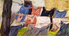 Franz Marc (German painter, 1880-1916) Laundry Fluttering in the Wind