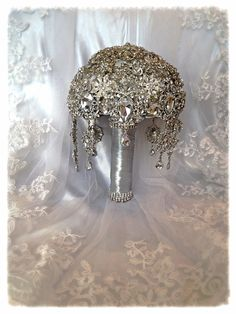 Wedding Brooch Bouquet. Deposit on Great Gatsby Diamond Jeweled Crystal Bling Brooch Bouquet. Bridal Broach Bouquet with dangling jewelry