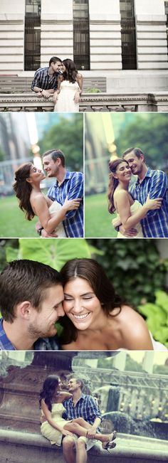New York Bryant Park engagement photo shoot