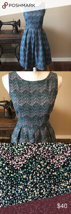 """👗Rare👗 Modcloth Bea and Dot dress Very good used condition Vintage inspired Modcloth Bea and Dot sleeveless dress.   Pattern has shades of blues, purples and silver.   Zippered back closure with full lining.   Has pockets!!  Size small measuring approximately armpit to armpit 16"""", across waistband 16"""" and 37"""" in length.100 % cotton fabric. Modcloth Dresses"""