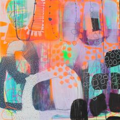 Maleri neonfarver - Køb moderne malerier af Mette Lindberg