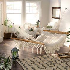 I Like the idea of having a Del Sol Dehammock indoors. Maybe as a bed? luxe Handwoven Cotton Mayan Hammock - Hammocks at Hammocks