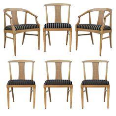 6 Vtg Mid Century Modern Thomasville Tamerlane Dining Chairs Danish James Mont