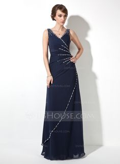 A-Line/Princess V-neck Floor-Length Ruffle Beading Sequins Zipper Up at Side Regular Straps Sleeveless Dark Navy Fall General Plus Chiffon Evening Dress