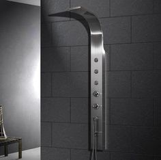 The Ariel Stainless Steel Shower Panel from ModSaunas