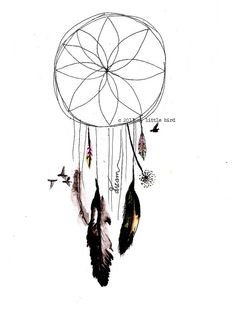 dream catcher with watercolor and feathers atrapa sue os pinterest attrape attrape r ve. Black Bedroom Furniture Sets. Home Design Ideas