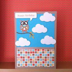 SU birthday card retro fresh owl