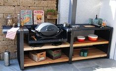Outdoorküchen The outdoor kitchen - StoneLine L with electric grill installation in slate Bridal Jew Grill Table, Grill Area, Bbq Area, Outdoor Grill Station, Outdoor Cooking Area, Outdoor Entertaining, Outdoor Kitchen Design, Patio Design, Outdoor Kitchens