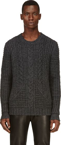 Pierre Balmain: Charcoal Grery Cableknit Sweater | SSENSE