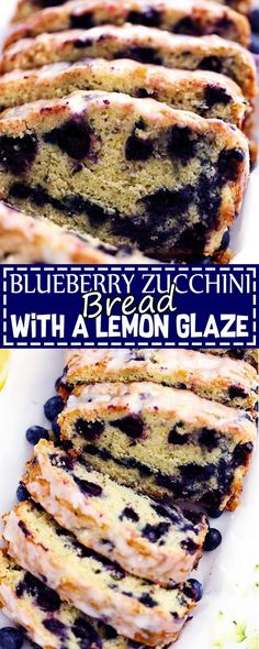 Blueberry Zucchini Bread With A Lemon Glaze Food Fun Kitchen - Zucchini rezepte Blueberry Zucchini Recipes, Zucchini Bread Recipes, Zuchinni Bread, Lemon Zucchini Bread, Blueberry Zucchini Bread Healthy, Blueberry Lemon Bread, Blueberry Cupcakes, Flan, Bread And Pastries
