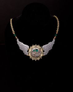 STEAMPUNK NECKLACE - Wings of Time - beautiful watch movement and swarovski crystal necklace with Rose & filigree wings. $90.00, via Etsy.