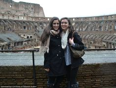 Junior, Jenna DeStefano and Sophomore, Kimie Chmura, studying Rhetoric in Rome, Italy, visit the ancient Coliseum. #UDAbroad